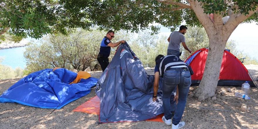 Diyarbakır'da yasak dinlemeyip çadır kuran kampçılara para cezası