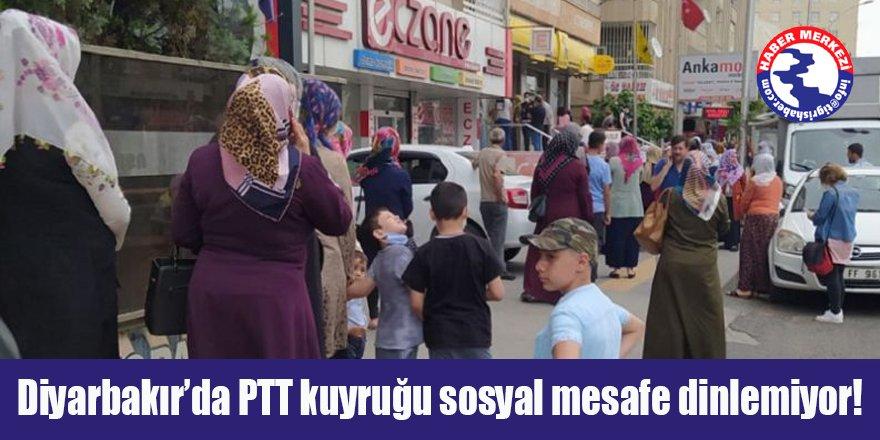 Diyarbakır'da PTT kuyruğu sosyal mesafe dinlemiyor!