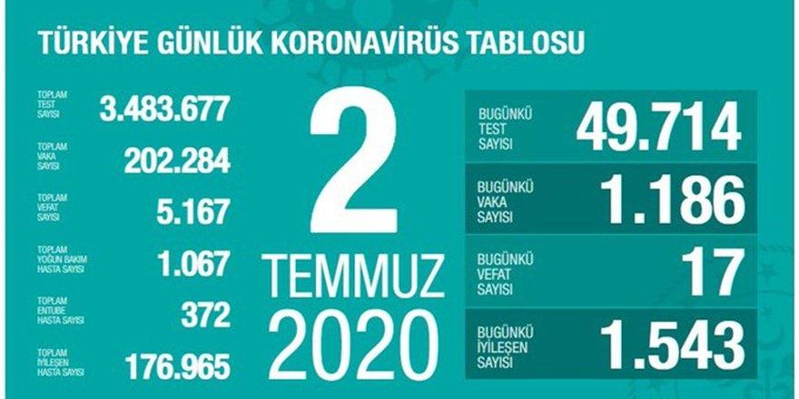 Koronadan yeni can kaybı 17, vaka sayısı bin 186
