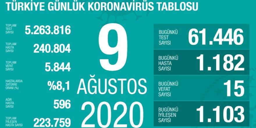 Türkiye'de son 24 saatte 1182 yeni koronavirüs vakası