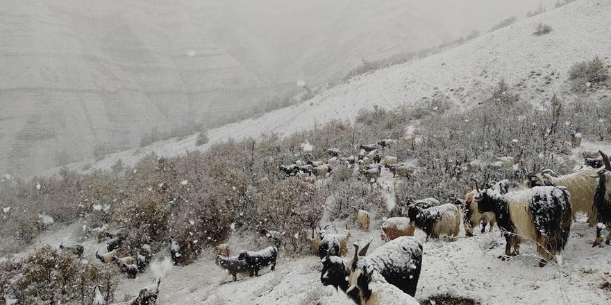Kar yağdı dağda mahsur kaldılar
