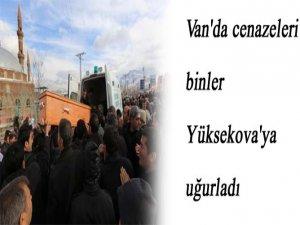 Van'da cenazeleri binler Yüksekova'ya uğurladı