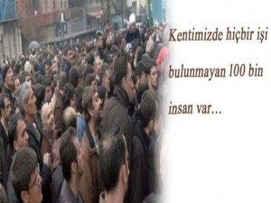 Kentimizde hiçbir işi bulunmayan 100 bin insan var…