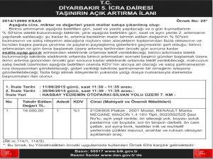 T.C Diyarbakır 5. İcra Dairesi Taşınırın Açık Artırma İlanı