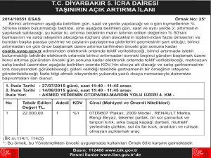 T.C Diyarbakır 5.,nci dairesi taşınırın açık artırma  ilanı