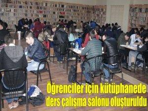 Öğrenciler için kütüphanede ders çalışma salonu oluşturuldu