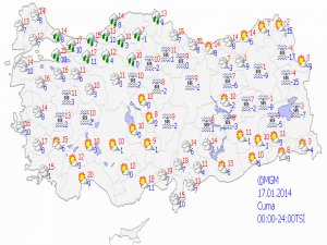 17 Ocak 2014 yurtta hava durumu