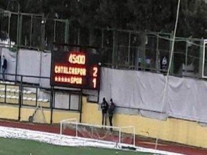 Çatalcaspor maçında scoreboard'a Dersimspor'u 'xxxxxspor' olarak yazdılar