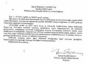 TBMM Başkanından Demirtaş'a SEGBİS yanıtı