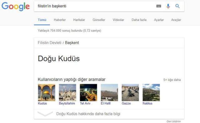 Google Filistin'in başkenti olarak Doğu Kudüs'ü tanıdı!