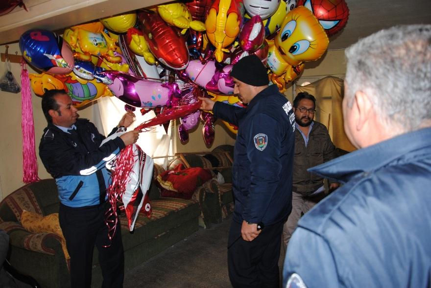 Evde kaçak balon üretimine operasyon