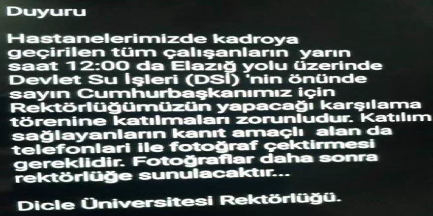 Dicle Üniversitesi: 'Cumhurbaşkanı'nın karşılanması' mesajı ile ilgimiz yok