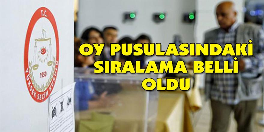 Oy pusulasındaki sıralama belli oldu