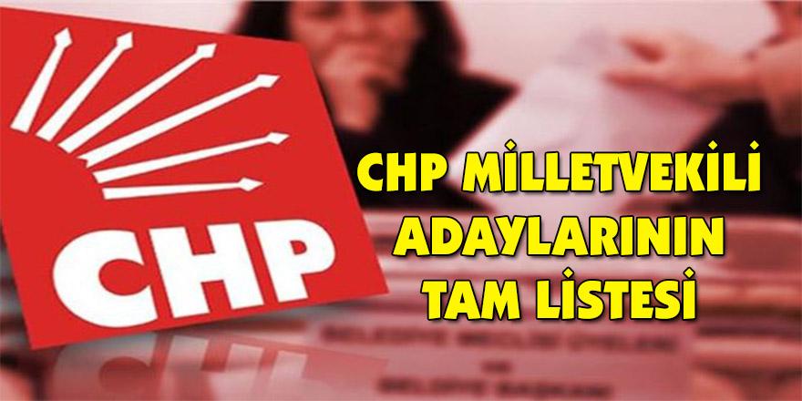 CHP milletvekili adaylarının tam listesi