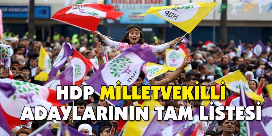 HDP milletvekilli adaylarının tam listesi