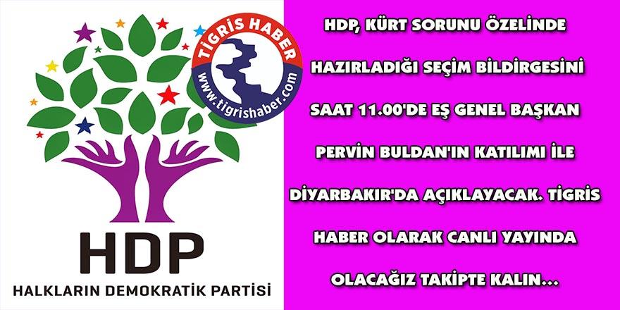 HDP seçim bildirgesini açıklayacak