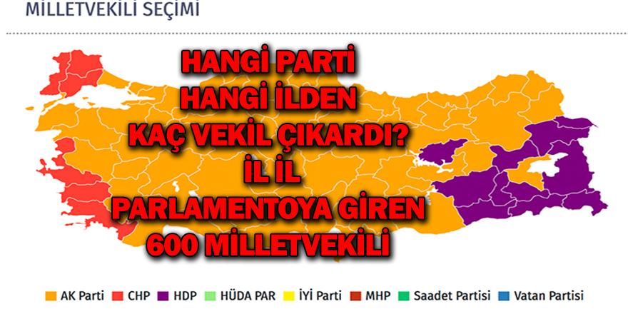 Hangi parti hangi ilden kaç vekil çıkardı: İl il parlamentoya giren 600 milletvekili