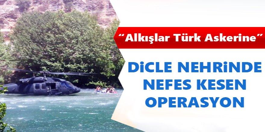 Dicle Nehri'nde Mahsur Kalan 12 Kişi Askeri Helikopterle Kurtarıldı.