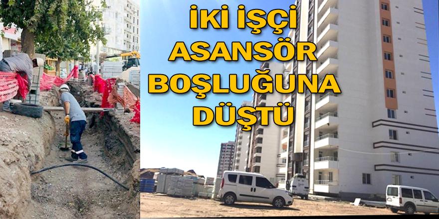 Asansör boşluğuna düşen işçiler yaralandı