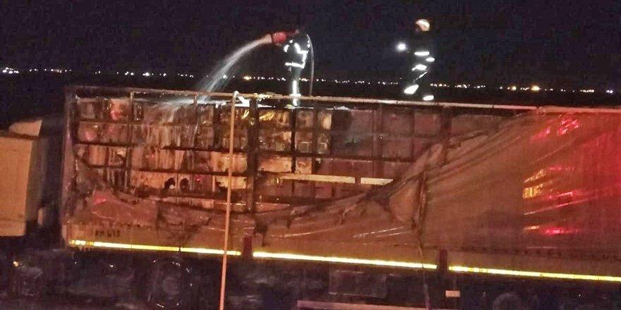 Mardin'de seyir halindeki tır alev aldı