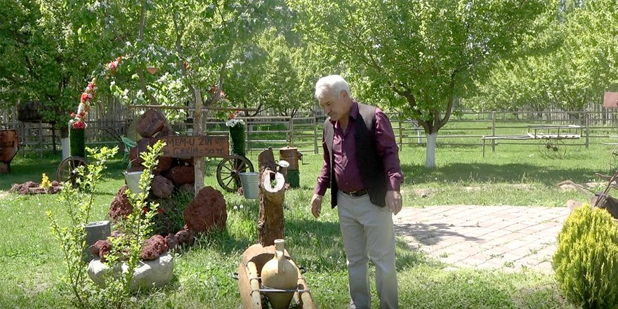 VİDEO - Eski alet ve edevatlarla bahçesini açık hava müzesine çevirdi