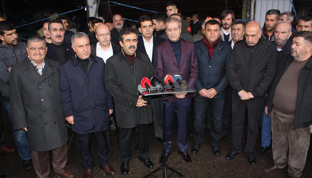 Ak Parti heyeti patlamanın yaşandığı halde incelemelerde bulundu