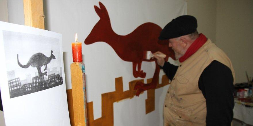 Mardinli ressam Şerif Kino, Avustralya'daki yangınlara dikkat çekti