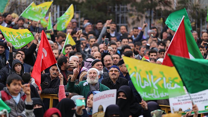 Diyarbakır'da 'Kudüs bizimdir' mitinginde ABD'ye tepki