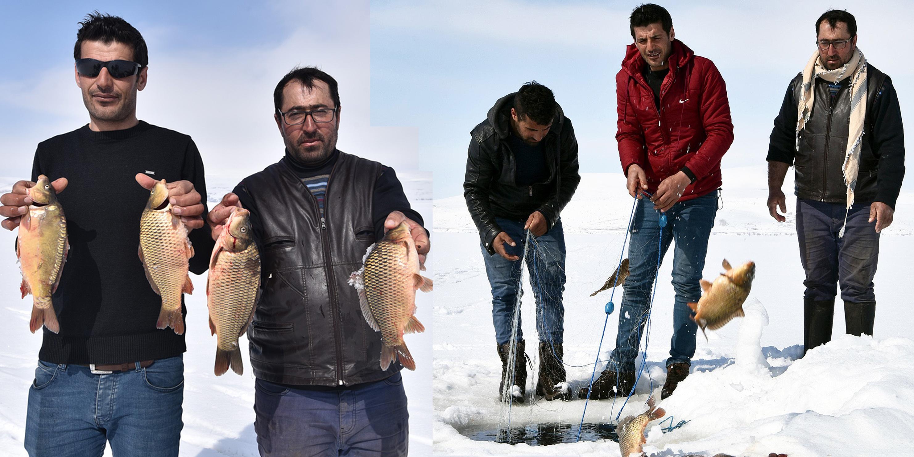 Nazik Gölü'nde Eskimo usulü balık avı