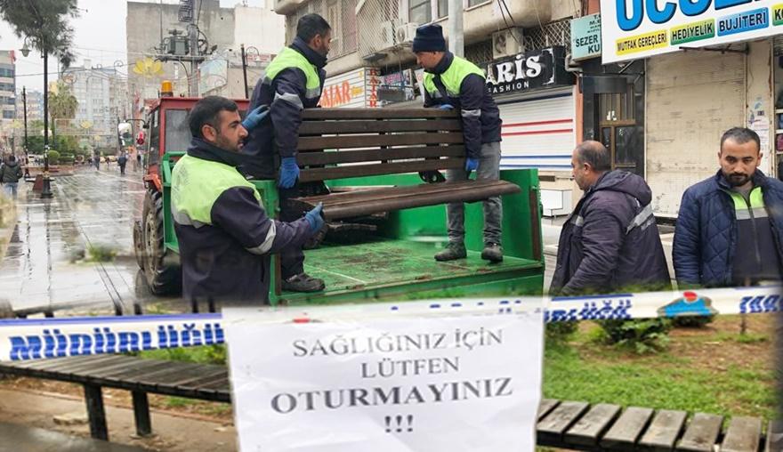 Belediye bankları kaldırdı, oturma alanlarına güvenlik şeridi çekti