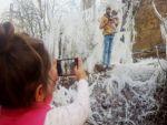 Beytüşşebap'ta buz tutan ağaçlar kartpostallık görüntü oluşturdu