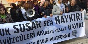 VİDEO- Kadınlar'dan Diyarbakır'da 'cinsel istismar yasa tasarısına' tepki