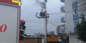 Kızıltepe'de trafodan alevler yükseldi