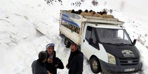 Siirt'te yolda mahsur kalan koyun sürüsü kurtarıldı