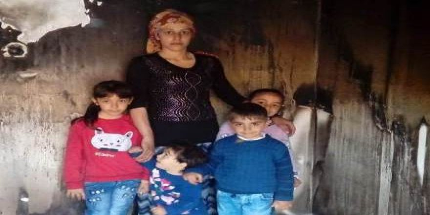 Evi yanan 4 çocuk annesi ortada kaldı!